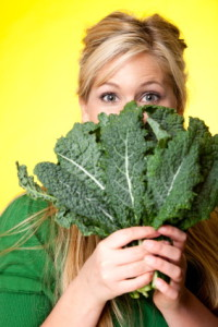 Woman with kale