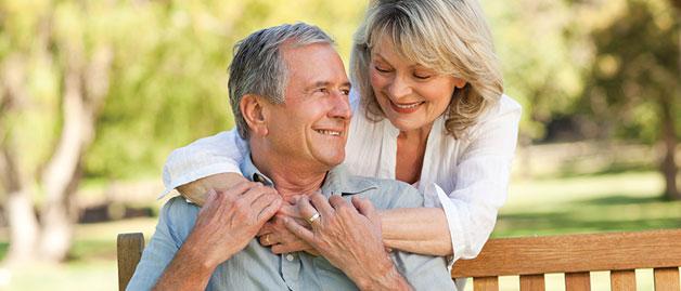 Satisfied older couple