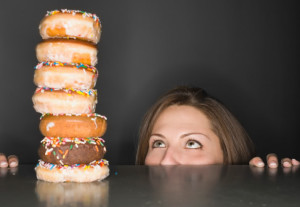 Woman with donuts