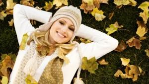 happy head woman in fall