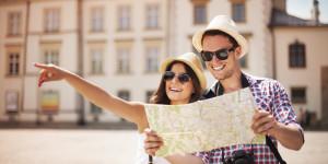 happy traveling couple
