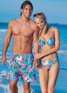 matching swimsuit couple